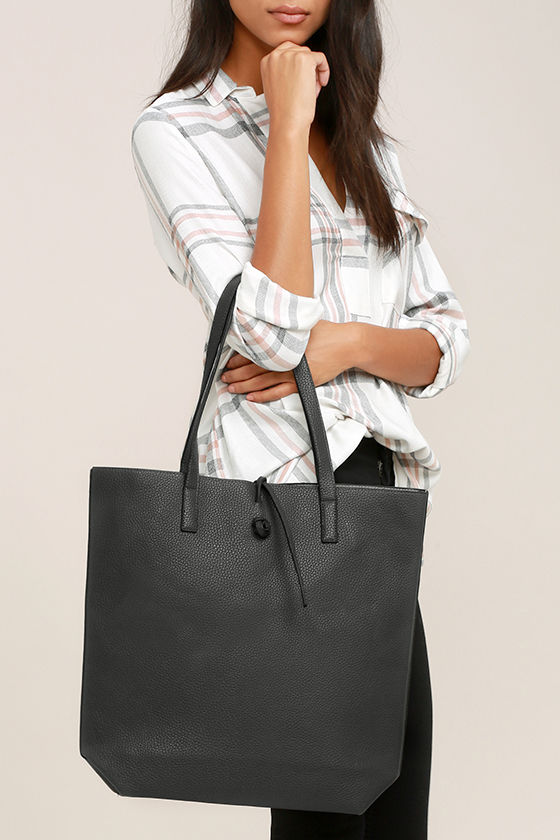 Living for the Weekend Light Grey and Charcoal Reversible Tote 1