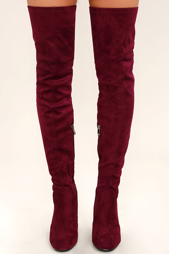 0b2357c2311 Sexy Wine Boots - Over the Knee Boots - Vegan Suede Boots -  49.00