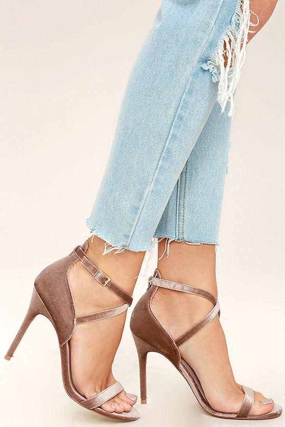 09d17dc76c874 Chinese Laundry Lavelle Heels - Velvet Heels - High Heel Sandals - Single  Sole Heels -  80.00