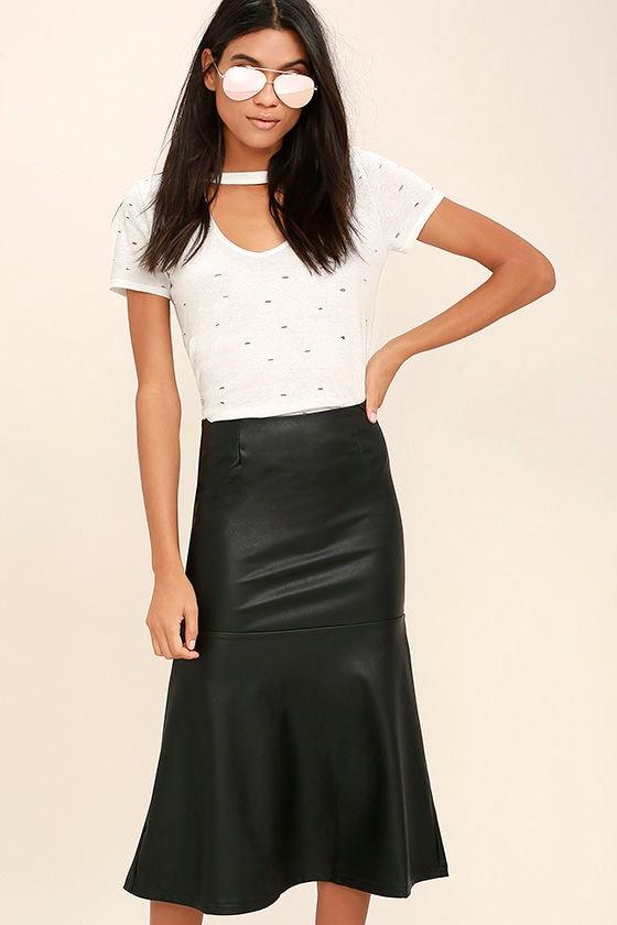 Popularity Vegan Leather Midi Skirt 2