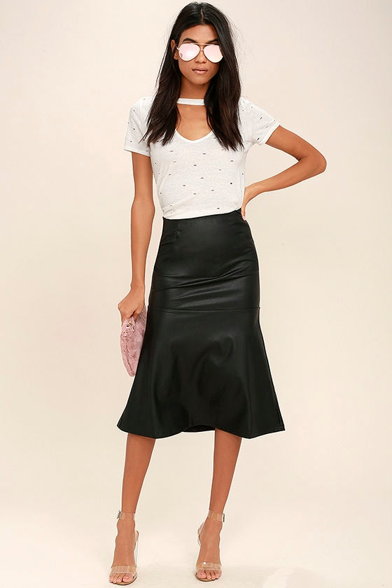 Popularity Vegan Leather Midi Skirt 1