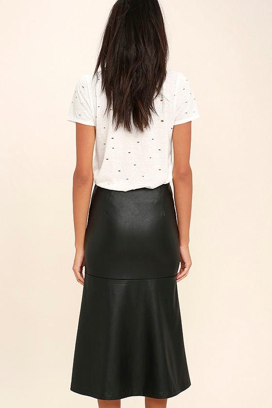 Popularity Vegan Leather Midi Skirt 3