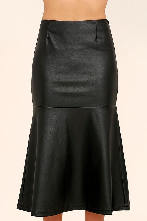 Popularity Vegan Leather Midi Skirt 4