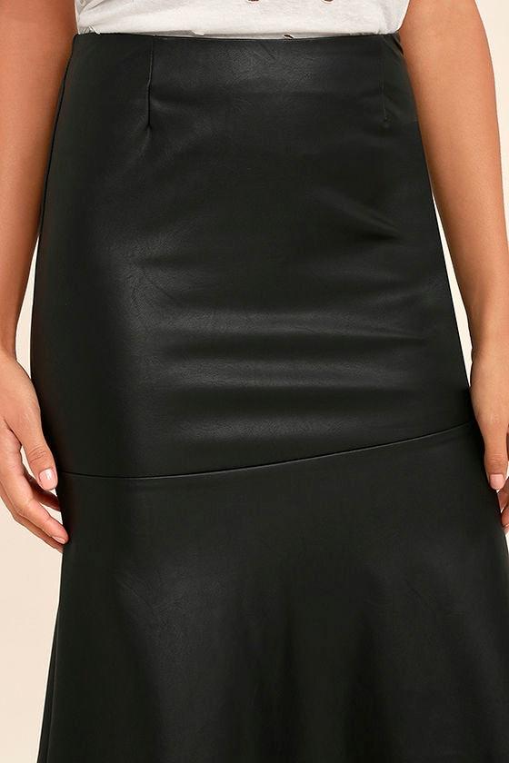 Popularity Vegan Leather Midi Skirt 5