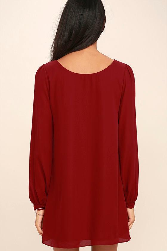 Pretty Wine Red Dress - Shift Dress - Long Sleeve Dress - $42.00