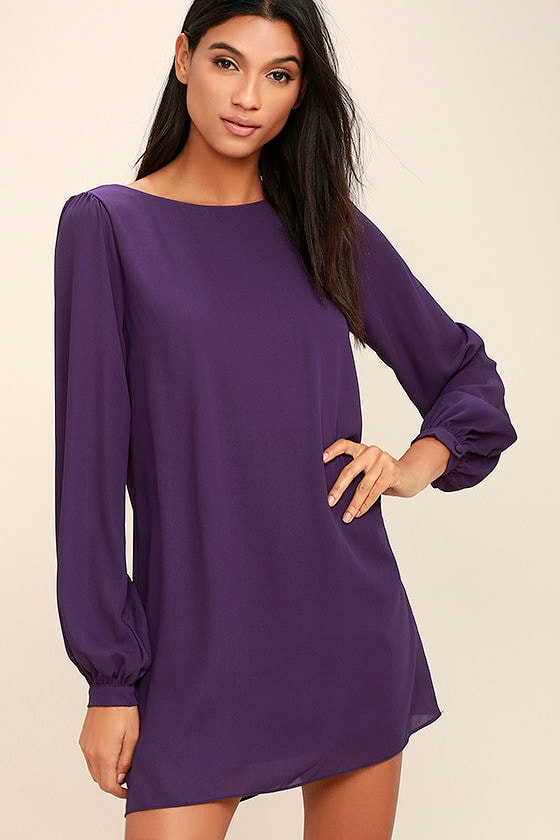 Pretty Purple Dress - Shift Dress - Long Sleeve Dress - $42.00