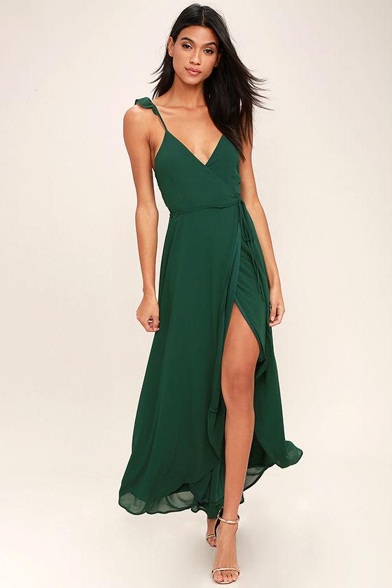Lovely Forest Green Dress - Wrap Dress - High-Low Dress - Maxi ...