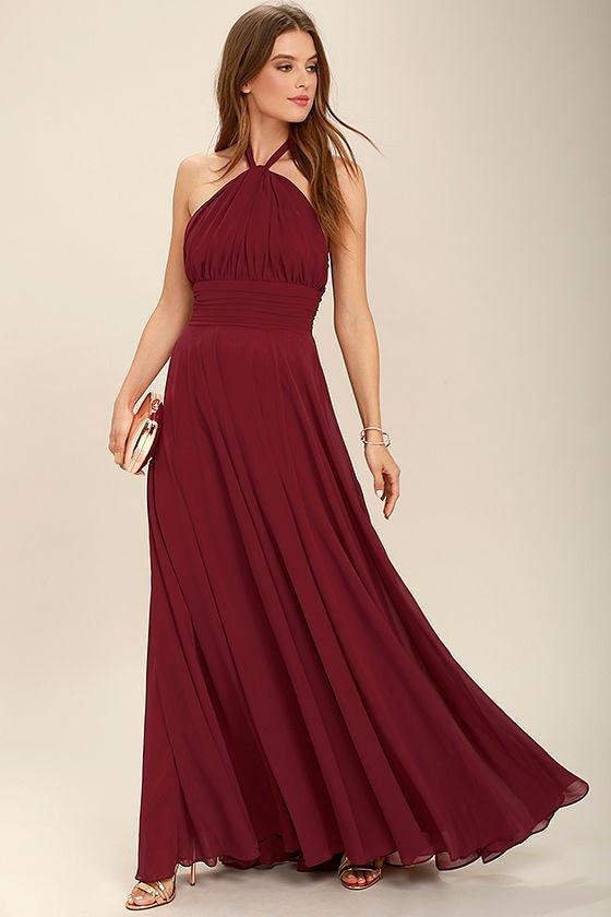3d63fd1462e Elegant Burgundy Dress - Maxi Dress - Halter Dress - Halter Maxi -  109.00