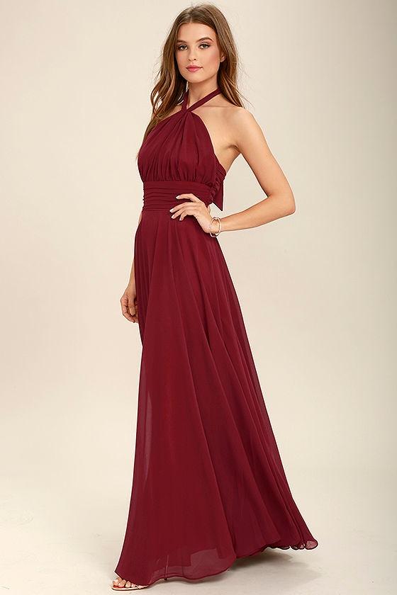 f57a01f44ee Elegant Burgundy Dress - Maxi Dress - Halter Dress - Halter Maxi ...