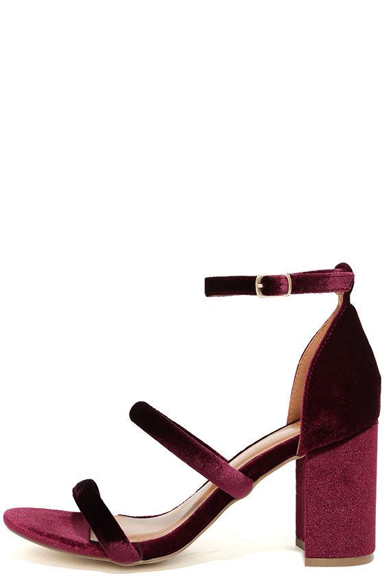 1f9410f641 Cute Wine Heels - Velvet Heels - Strappy Heels - Block Heels - $32.00