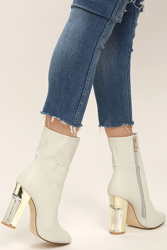 Naomi Off-White Lucite Mid-Calf Boots 2
