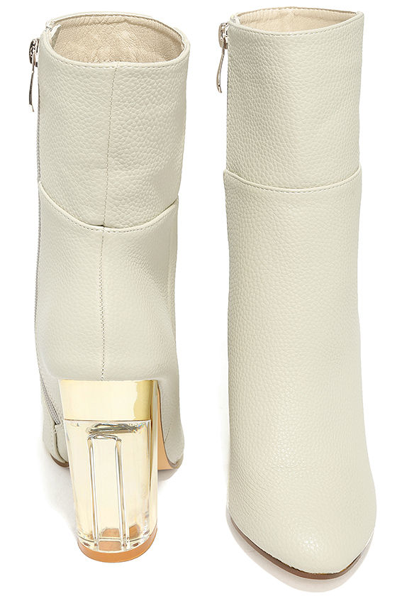Naomi Off-White Lucite Mid-Calf Boots 3