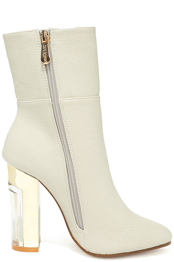 Naomi Off-White Lucite Mid-Calf Boots 4