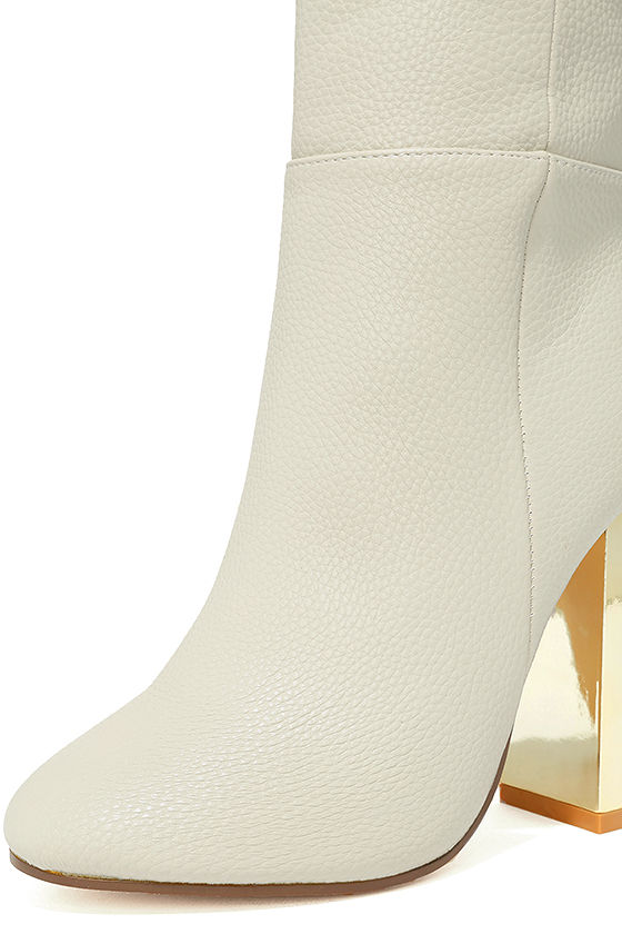 Naomi Off-White Lucite Mid-Calf Boots 6
