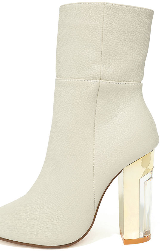 Naomi Off-White Lucite Mid-Calf Boots 7