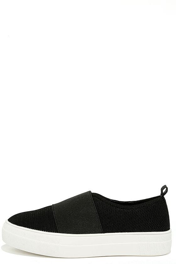 Steve Madden Glenn-M Black Mesh Flatform Sneakers 1