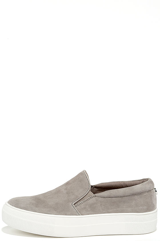 Steve Madden Gills Grey Suede Leather Flatform Sneakers 1