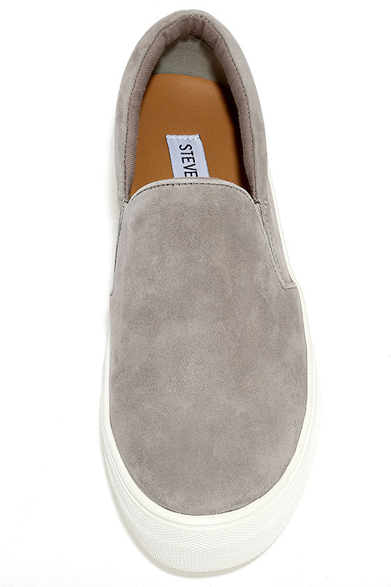 Steve Madden Gills Grey Suede Leather Flatform Sneakers 5