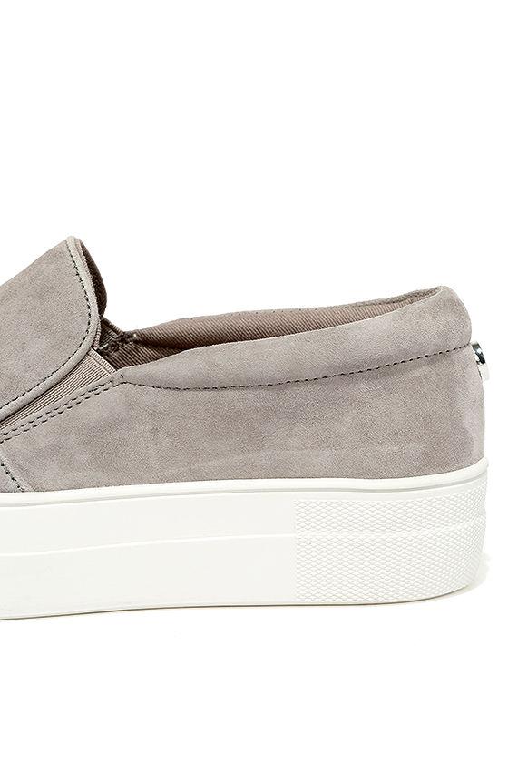Steve Madden Gills Grey Suede Leather Flatform Sneakers 7