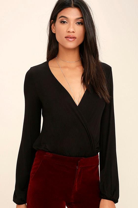 0b82ded35a40 Sexy Black Bodysuit - Long Sleeve Bodysuit - Surplice Bodysuit -  36.00