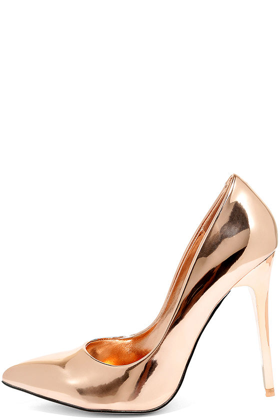Chic Rose Gold Heels - Pointed Toe Pumps - Mirrored Pumps - $35.00