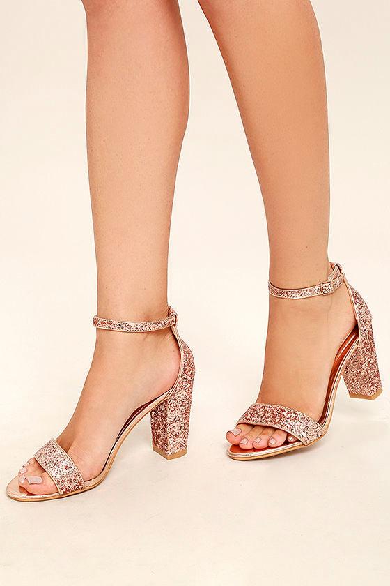 Stunning Champagne Heels - Rose Gold Heels - Glitter Heels - $37.00
