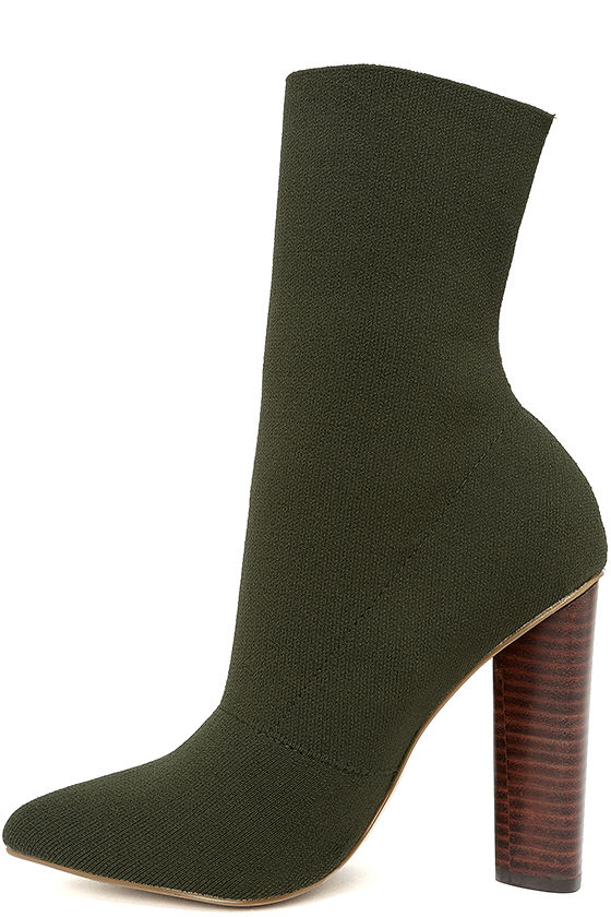 619ca04aaf34 Steve Madden Capitol Olive - Sock Boots - Knit Boots - Mid-Calf Boots