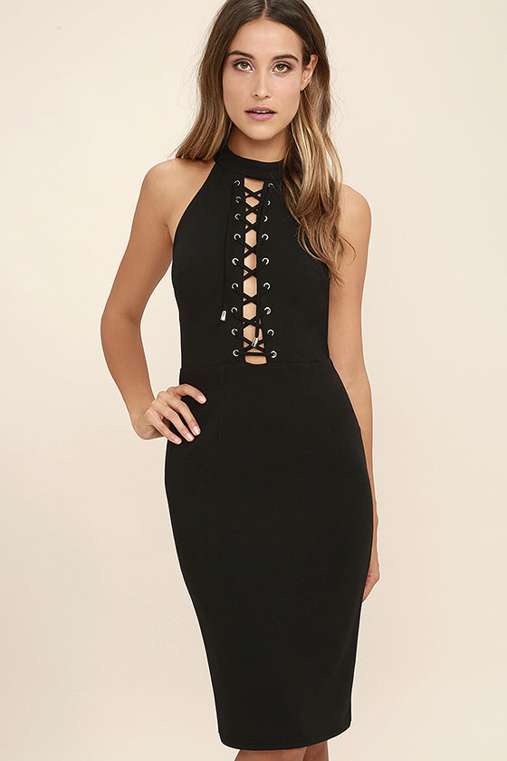 Sexy Black Dress - Lace-Up Dress - Bodycon Dress - Midi Dress ...