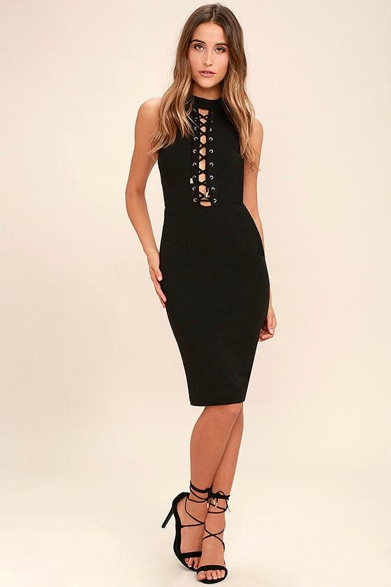 Tight black lace dress