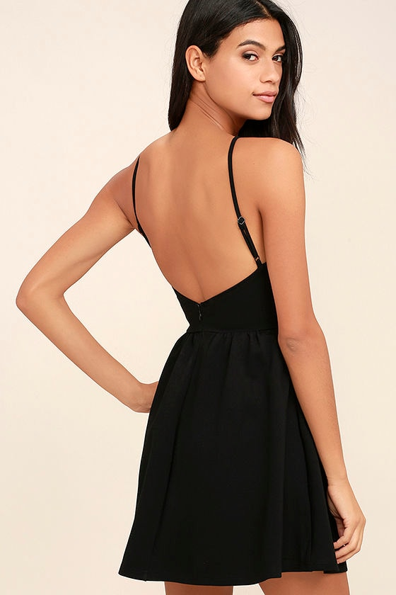 Pretty Black Dress - LBD - Skater Dress - Backless Dress - Knit ...