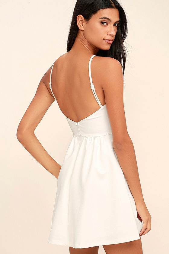 0147281735 Pretty White Dress - LWD - Skater Dress - Backless Dress - Knit Skater -   54.00