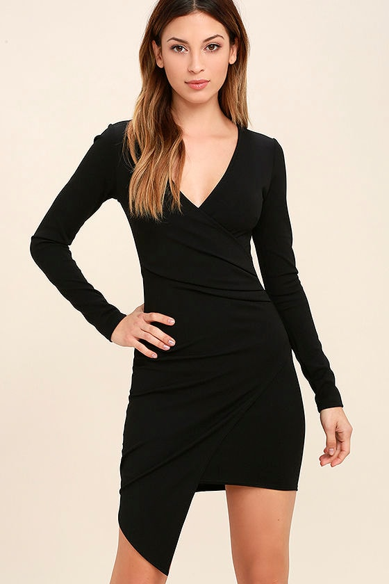 Love Me Completely Black Long Sleeve Bodycon Dress 1