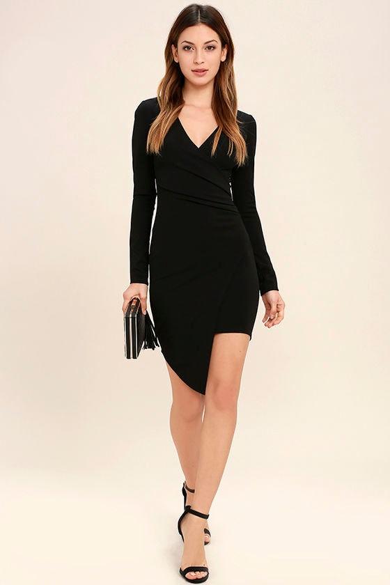 Love Me Completely Black Long Sleeve Bodycon Dress 2