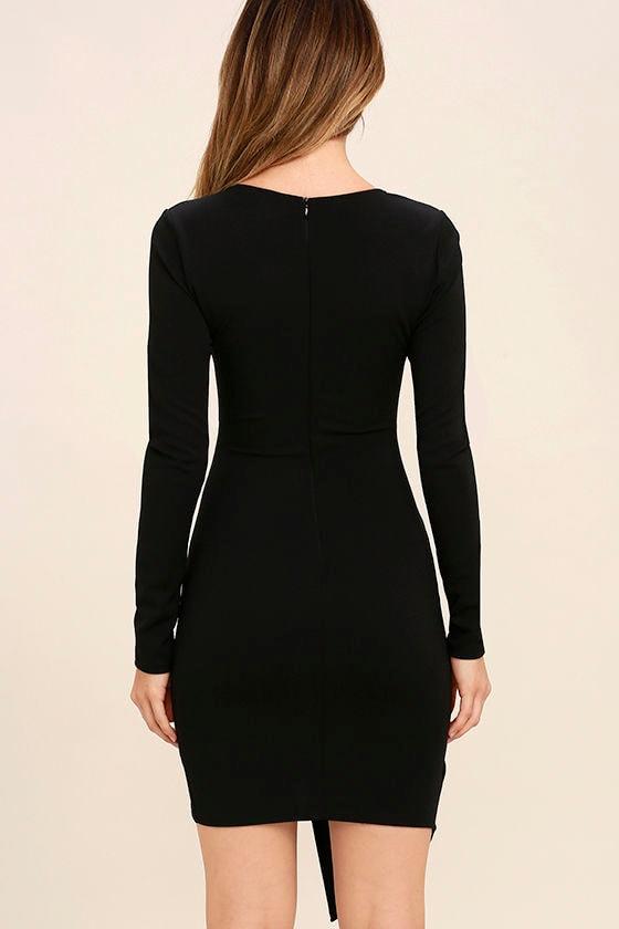 Love Me Completely Black Long Sleeve Bodycon Dress 4