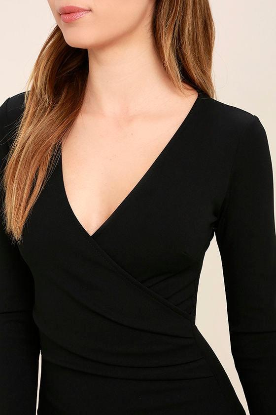 Love Me Completely Black Long Sleeve Bodycon Dress 5