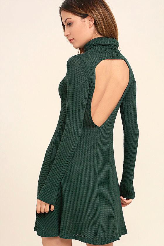 Never Say Goodbye Dark Green Backless Swing Dress 1