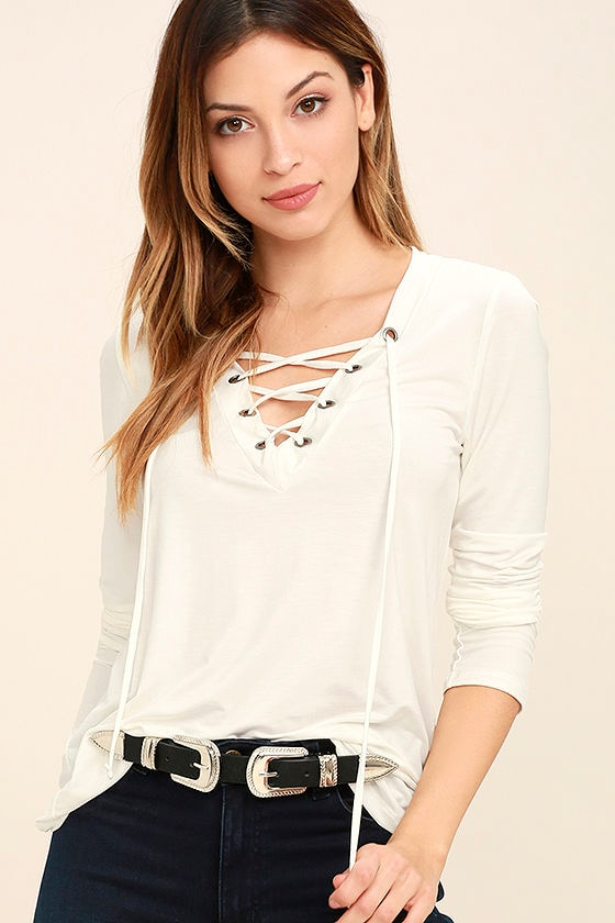 Love Song Ivory Long Sleeve Lace-Up Top 1