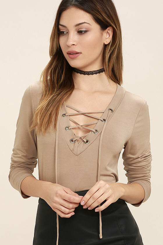 b34ff2084e885 Cute Taupe Long Sleeve Top - Lace-Up Top - Jersey Knit Top -  34.00