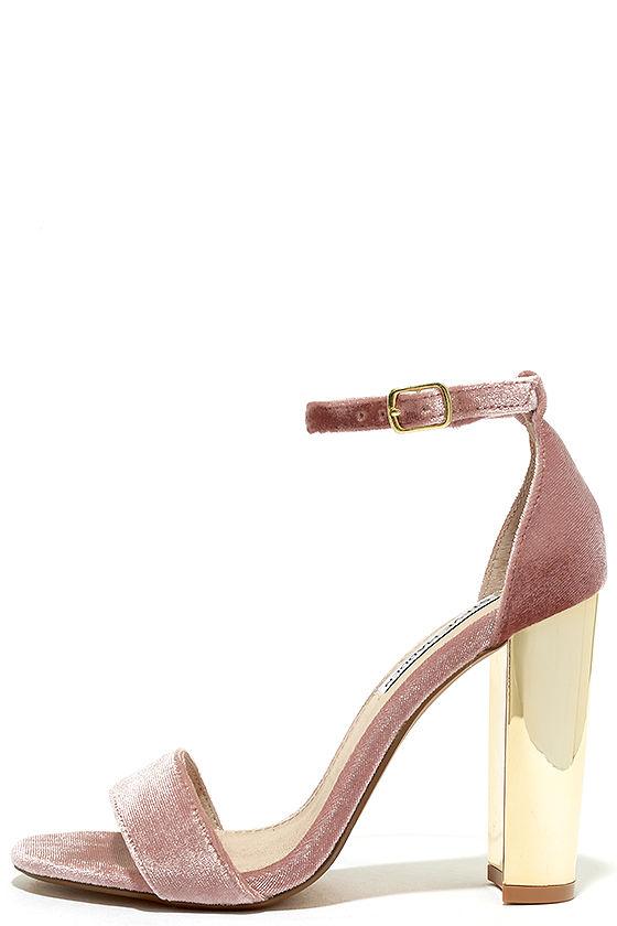 Steve Madden Carrsonv Pink Velvet Ankle Strap Heels 1