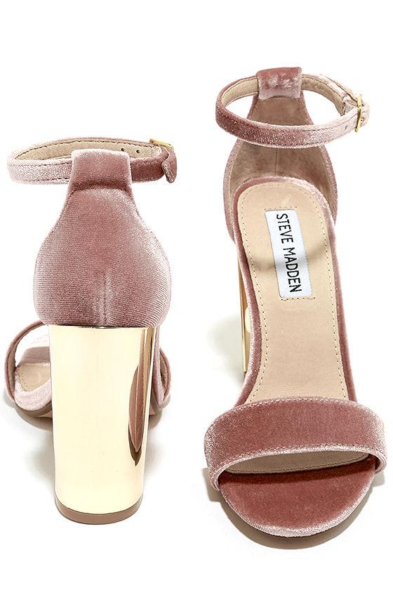 Steve Madden Carrsonv Pink Velvet Ankle Strap Heels 3