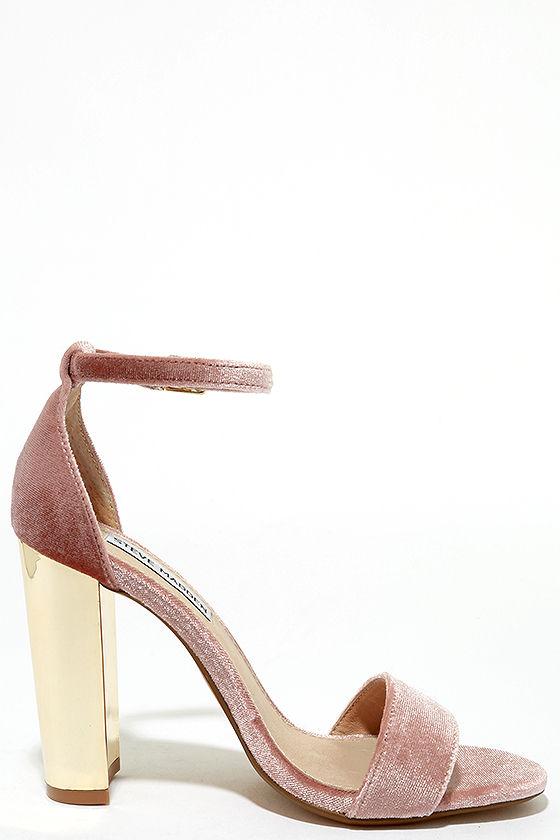 Steve Madden Carrsonv Pink Velvet Ankle Strap Heels 4