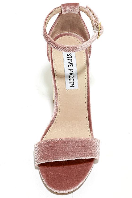 Steve Madden Carrsonv Pink Velvet Ankle Strap Heels 5