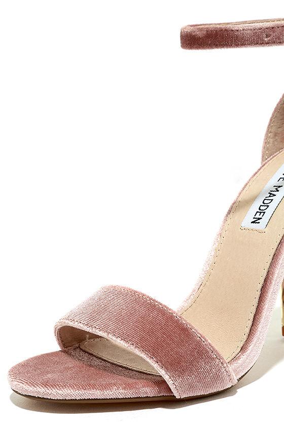 Steve Madden Carrsonv Pink Velvet Ankle Strap Heels 6