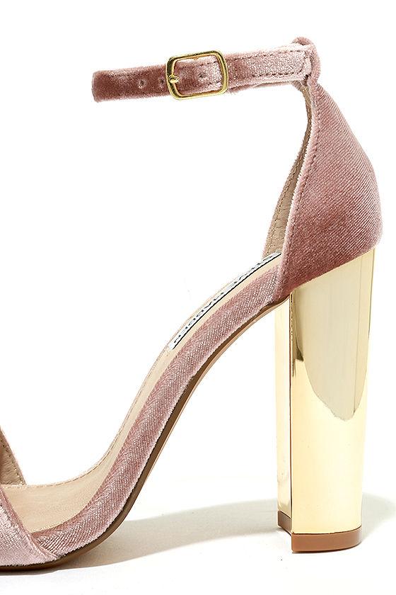 Steve Madden Carrsonv Pink Velvet Ankle Strap Heels 7