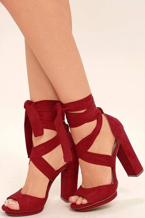 4e4b501e9ea2 Lovely Dark Red Heels - Lace-Up Heels - Vegan Suede Heels -  33.00