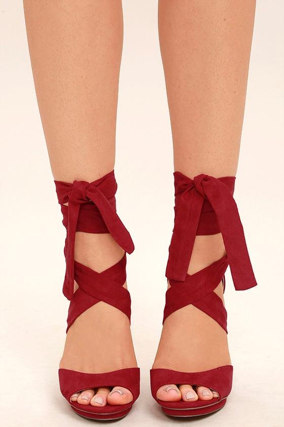 9515d0dc73d Lovely Dark Red Heels - Lace-Up Heels - Vegan Suede Heels -  33.00