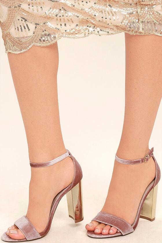 Steve Madden Carrsonv Pink Velvet Ankle Strap Heels 2