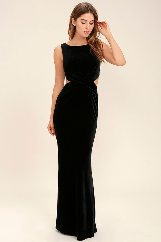 Lovely Black Dress - Velvet Dress - Maxi Dress - Cutout Dress - $94.00