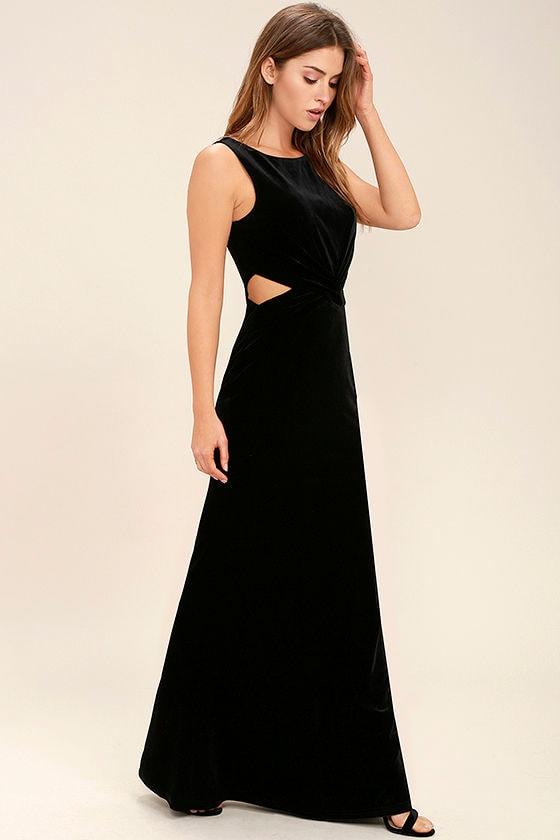 Lovely Black Dress - Velvet Dress - Maxi Dress - Cutout Dress - $94.00