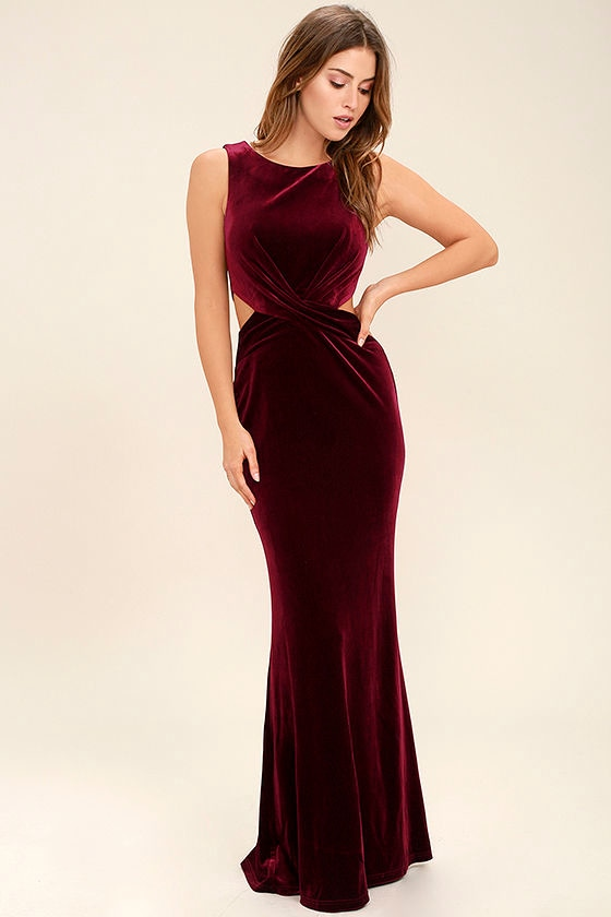 Lovely Burgundy Dress - Velvet Dress - Maxi Dress - Cutout Dress ...